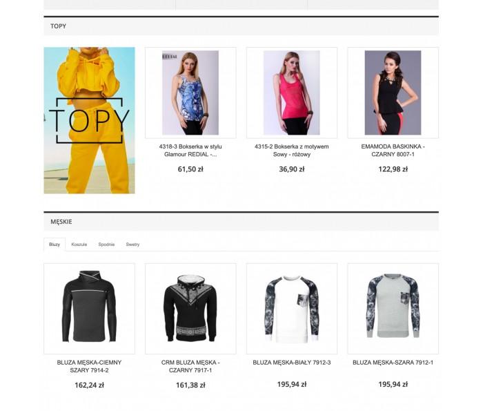 Produkty na stronie głównej w grupach / zakładkach PRO