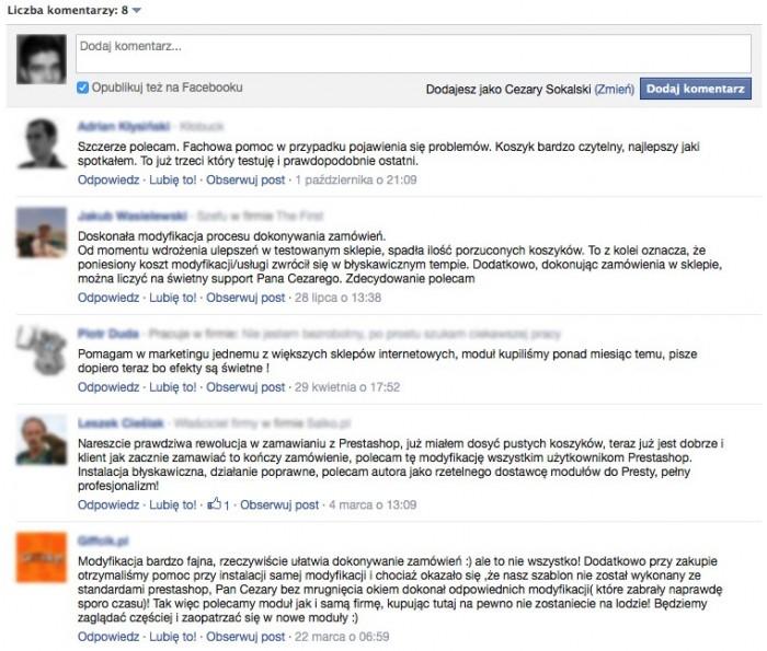 Komentarze z Facebook na produkcie