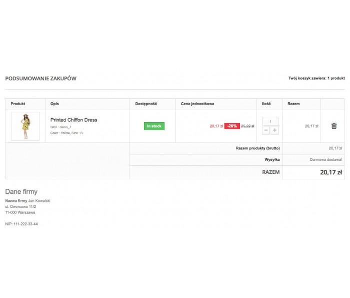 Dane przedsiębiorcy w procesie zamówienia