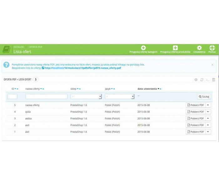 Generator ofert produktów w PDF
