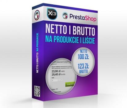 Cena netto i brutto na liście produktów i produkcie