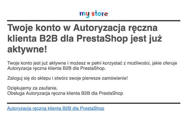 Moduł Ręczna autoryzacja dla PrestaShop - Mail o aktywacji konta