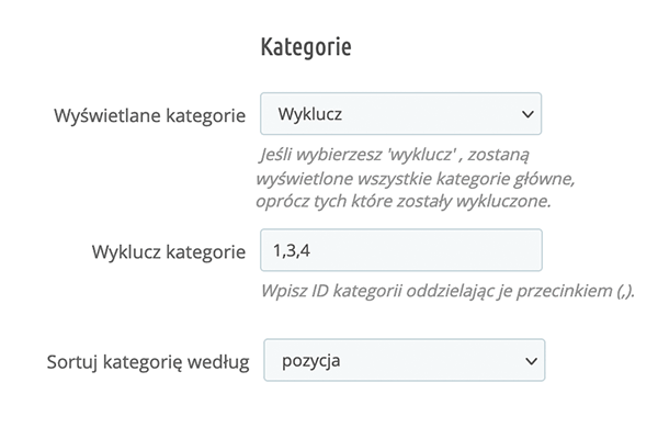 Kategorie na stronie głównej dla PrestaShop - Wybór kategorii